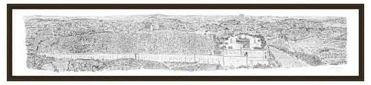 2m Framed Jerusalem Panorama print