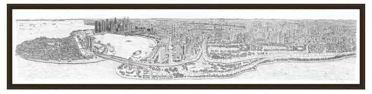 2m Framed Singapore Panorama print